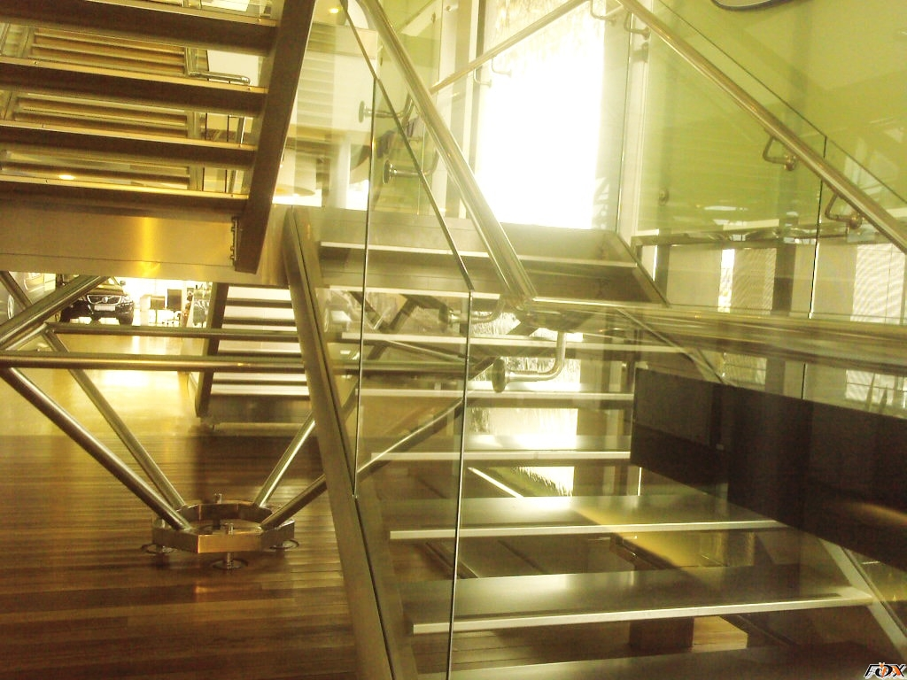 Stainless steel railings with glass